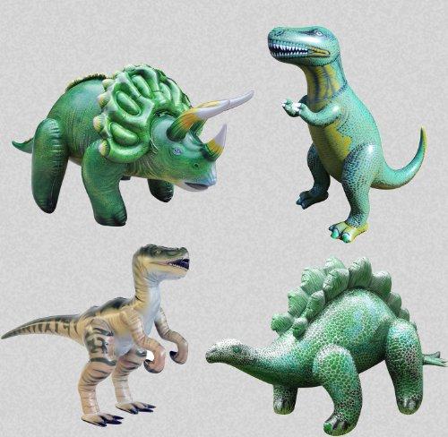 Party Pack oder Schule Pack von aufblasbaren Dinosaurier (1Stegosaurus, 1Triceratops, 1T-Rex, 1Velociraptor) (Jet Spielzeug Pack)