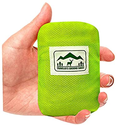 """""""Pocket Blanket"""" (Traveler's Ground Sheet) for Hiking, Camping, Beach and Picnic - Water Resistant, Compact Storage Pouch, Weights 140 grams, Measures 1.9 x 1.27 meters"""