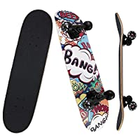 NPET Pro Skateboard Complete 31 Inch 7 Layer Canadian Maple Double Kick Concave Deck Skating Skateboard (Colorful Graffiti)