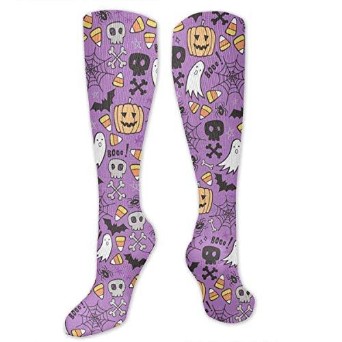 Kotdeqay Halloween Doodle with Skulls,Bat, Compression Socks for Women & Men - Compression Stockings for Travel, Running, Pregnancy, Nurse