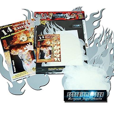 Schneidmeister EZ–Flames Vol. 01 14-Piece Airbrush Stencils Kit Flames by SCHNEIDMEISTER