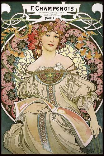 Close Up Alfons Mucha Poster Jugendstil F. Champenois 1897 (93x62 cm) gerahmt in: Rahmen schwarz -