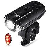 N.ORANIE LED Fahrradbeleuchtung Set, USB Wiederaufladbare Fahrradbeleuchtung 700 Lumen Fahrradlicht, Einstellbarer Helligkeit Farad Frontlicht & Rücklicht, IP65 Wasserdicht