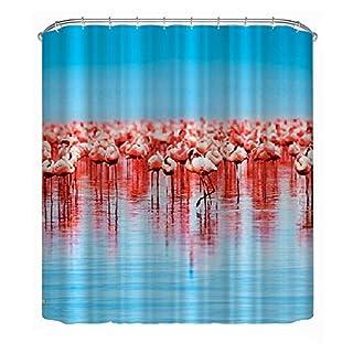 Awakingdemi Polyester Shower Curtain Waterproof Flamingo,Bathroom Shower Curtain Decoration (70.9 X 78.7inch, Flamingo Group)