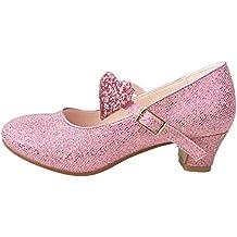 La Señorita Zapato Elsa Frozen Flamenco Sevillanas de la princesa niña rosa purpurina