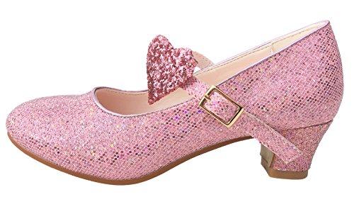 La Senorita Prinzessinnen Schuhe glitzer Elsa Frozen Spanische Flamenco Schuhe rosa (Größe 29 - Innenmaß 19,5 cm, (Kostüme Kleid Spanisch)
