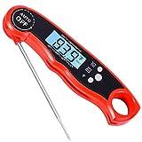 Euhubb Fleisch-/Küchen-Thermometer, wasserdicht, unmittelbar ablesbar, mit hintergrundbeleuchtetem Display, zusammenklappbar, große Sonde für Lebensmittel, Süßigkeiten, Milch, Tee, Grill rot