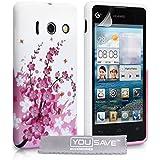 Yousave Accessories Zubehör Blumen Biene Silikon Gel Schutzhülle für Huawei Ascend Y300