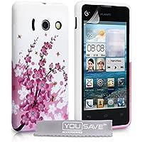 Yousave Accessories® Silikon-Gel-Schutzhülle für Huawei Ascend Y300, Motiv: Blüten und Bienen