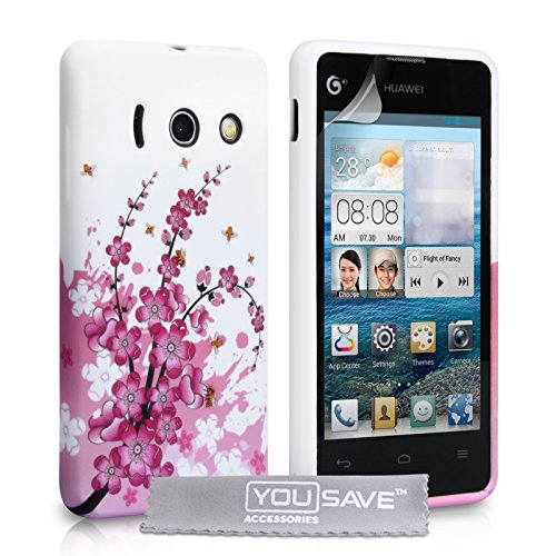 yousave-accessories-huawei-ascend-y300-floral-bee-pattern-phone-case-cover