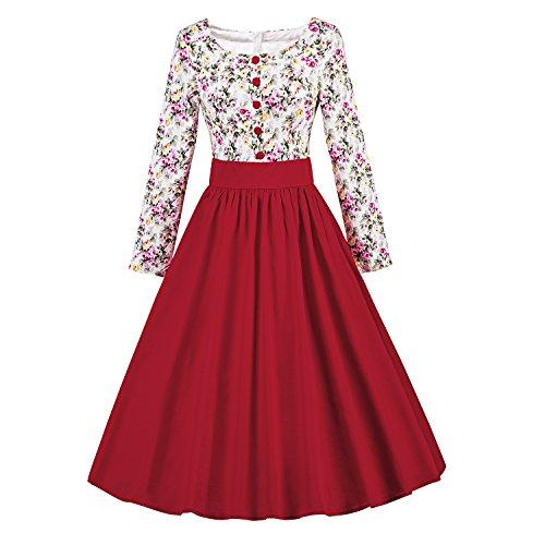 ILover Frauen 1950 Vintage Blumenkleid Langarm Plissee drucken Swing-Kleid (Plissee Kreis)