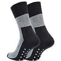 Vincent Creation 2, 4 of 6 paar ABS-sokken, volledig pluche, anti-slip sokken, bi-color zwart/grijs