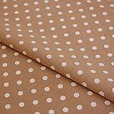 Hans-Textil-Shop Stoff Meterware Punkte 7 mm Weiß auf Beige
