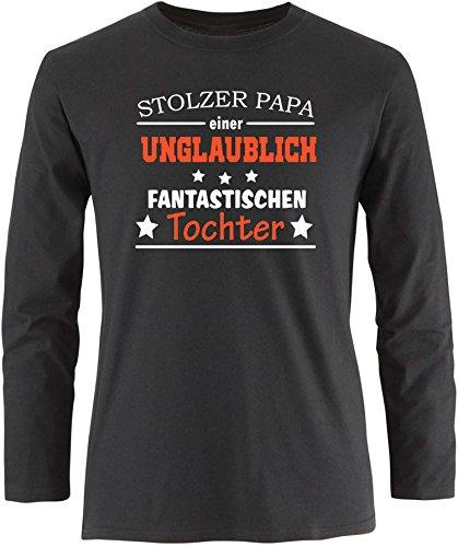 EZYshirt® Stolzer Papa einer unglaublich fantastischen Tochter Herren Longsleeve Schwarz/ Weiß/ Orange
