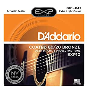 D'Addario EXP10 EXP Coated 80/20 Bronze Extra Light  (.010-.047) Acoustic Guitar Strings