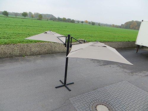 Madison Gastronomie Gartenschirm 'Murano II' mit zwei separat verstellbaren Schirmen in taupe, UV-Schutz 40 Plus