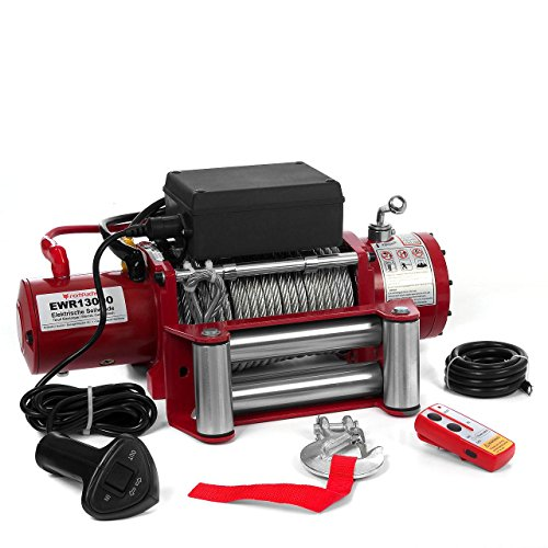 elektro seilwinde 230v Elektrische Seilwinde Motorwinde 12V 5909 KG 6,0 PS inkl. Funkfernbedienung Rot