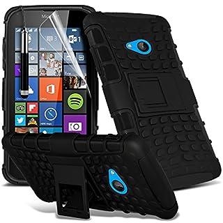 i-Tronixs (Schwarz) Microsoft Lumia 640 hülle Hochwertige Starke und haltbare Survivor Hard robuste Stoßfest Heavy Duty bei zurück Stand Skin Case Cover& Screen Protector