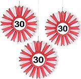 3x Honigwaben Deko * VERKEHRSSCHILD 30 * zum Geburtstag und Party   Verkehrszeichen Dekoration mit Ø 25cm   Alle lieben diese rot-weißen Honeycomb Schilder