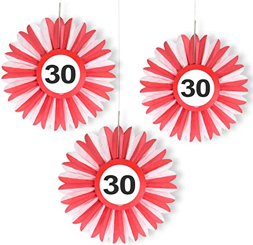 3x Honigwaben Deko * VERKEHRSSCHILD 30 * zum Geburtstag und Party | Verkehrszeichen Dekoration mit Ø 25cm | Alle lieben diese rot-weißen Honeycomb Schilder