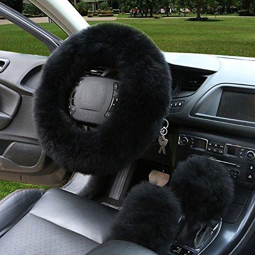 3er/Set Universal Auto Plüsch Lenkradhülle Lenkrad Abdeckung Lenkradbezug aus Lange Wolle 38CM / 15'' Anti Rutsch Warm Lenkradabdeckung Lenkradschoner Leopard-Muster Winter-Schutz (Volvo Lenkrad Abdeckung S60)