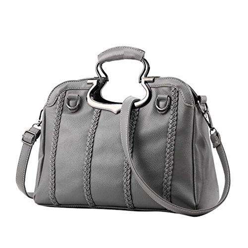 Jitong Donna Vintage PU Cuoio Messenger Tote Bag Borse a Mano Borsa a Spalla Grigio Luce