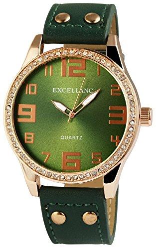 Excellanc XXL Damenuhr Grün Gold Strass Analog Metall Leder Quarz Armbanduhr