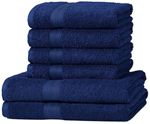 AmazonBasics Handtuch-Set, ausbleichsicher, 2 Badetücher und 4 Handtücher, Königsblau, 100% Baumwolle 500g/m² (Sets Blaue Handtücher-badezimmer)