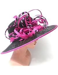 Damenhut Anlasshut elegant in Schwarz/Pink