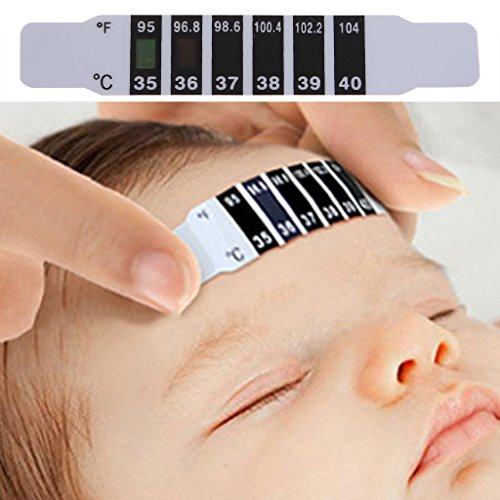 "Dabixx Forehead Head Strip Thermometer Fever Body Baby Child Kid Adult Check Test Temperature Monitoring Safe Non-Toxic 10 Pieces Black+White 9cmx1.5cm/3.54""x0.59\"""