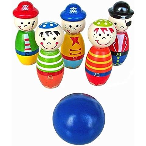 Fortan Bambini Giocattoli di legno Forma Palla da bowling birilli divertente per i bambini Gioco
