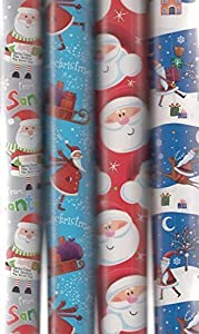 4 x 5M Rolls Of Christmas Gift Wrapping Paper Cute Santa Designs WCST