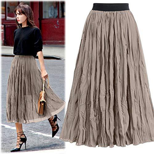 Wawer_Damen Rock  Frauen Lange Röcke elastische Taille Plissee Maxi Röcke Strand Boho Vintage Sommer, Jeden Tag Freizeit Einkaufen Faltenrock Prinzessin Rock -