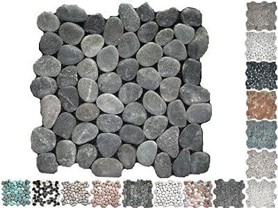 1 Netz Flusssteine Rund Schwarz Riverstone von Mosaikdiscount24 bei TapetenShop