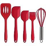 Deik Ustensiles de Cuisine en Silicone, 2 Spatules, Cuillère, Brosse, Fouet, Rouge, Set de 5