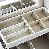 HBF-Caja-Joyero-Organizador-Con-Espejo-Blanco-Piel-Caja-Joyero-Relojes-Con-Cajones-Organizador-Para-Bisuteras-Pendiente-Collar