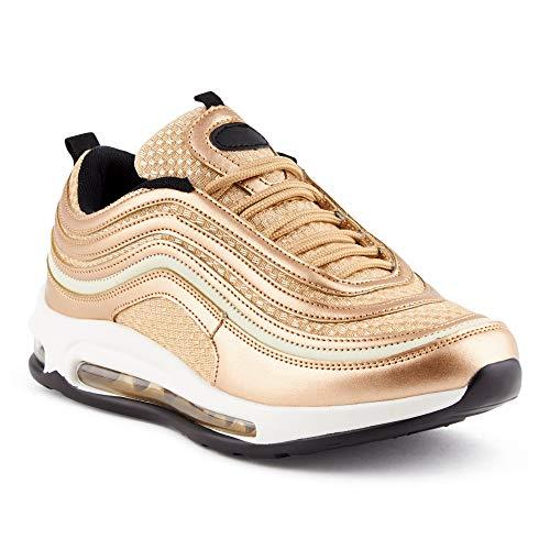 Fusskleidung Herren Damen Sportschuhe Dämpfung Metallic Sneaker Berlin/Gold/M EU 42