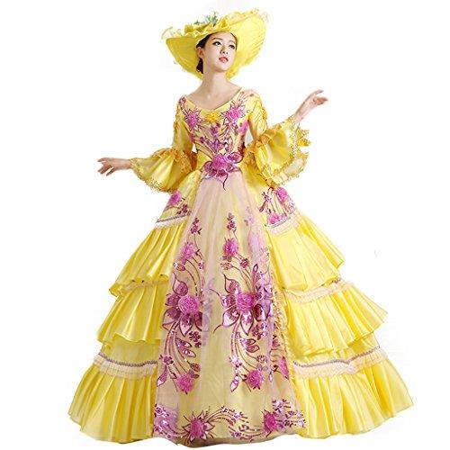 Cosplayitem Layered Gothic Viktorianischen Kleid Kostüm Palace Masquerade Kleider für Damen Mädchen Set von Kleid Hut Petticoat Gelb