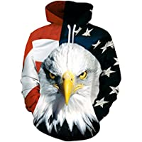 3d Sudadera con capucha,Chicolife Unisex Divertido 3D Impreso Drawstring Bandera Americana Águila Graphic Pullover