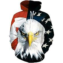 chicolife 3D Sudadera con Capucha, Unisex Divertido 3D Impreso Drawstring Bandera Americana Águila Graphic Pullover