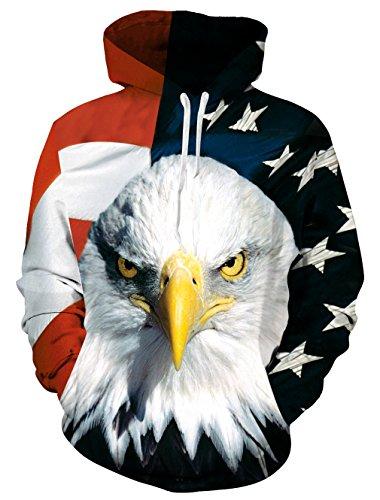 Causal Hoodie,Chicolife Unisex Lustige 3D Gedruckte Drawstring Amerikanische Flagge Eagle Graphic Pullover Hoodies Sweatshirts Taschen mit Samt Plus Futter S-4XL Eagle Herren Hoodie