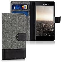kwmobile Funda para Sony Xperia M4 Aqua - Wallet Case plegable de cuero sintético - Cover con tapa tarjetero y soporte en gris negro