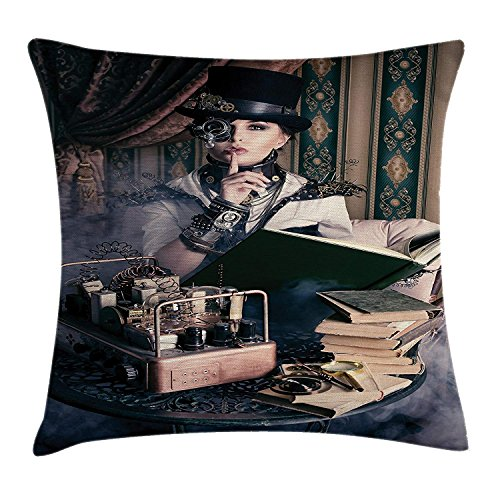 ZMYGH Gothic Throw Pillow Cushion Cover by, Portrait of Steampunk Woman with Medieval Vintage Outfit Historic Fashion Art Photo, Decorative Square Accent Pillow Case, 18 X18 Inches, Brown Teal