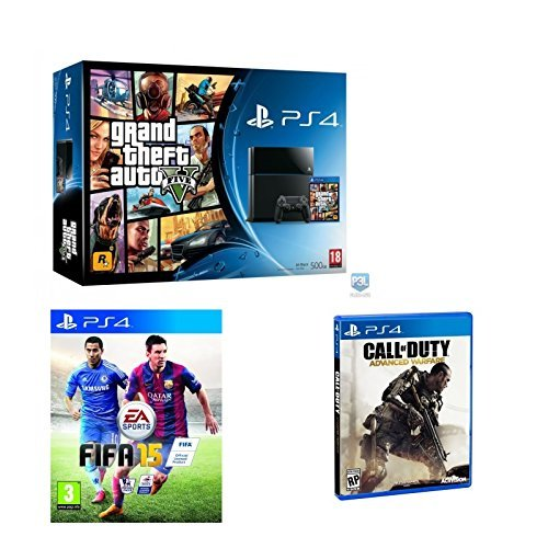 S4 Console Grand Theft Auto 5, FIFA 15, Call of duty Advance Warfare Bundle by PlayStation 4 ()