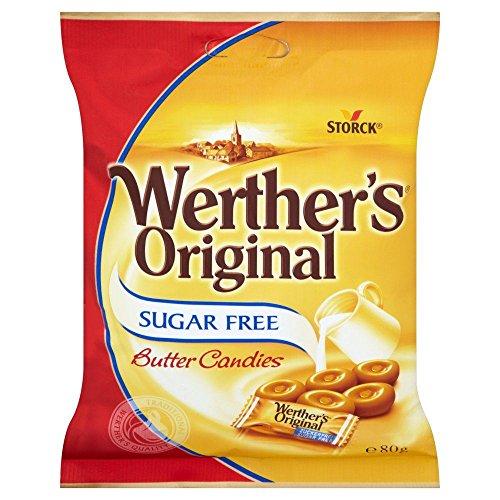 Werther's - Bonbons au beurre - sans sucre - lot de 2 paquets de 80 g