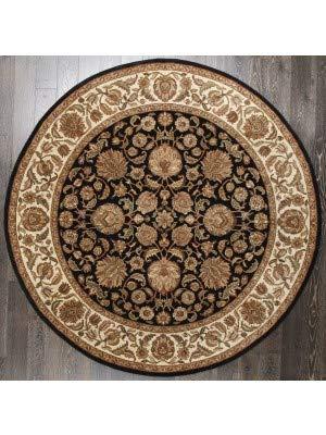 Rugsville Zohar Persischer Teppich mit floralem Muster, handgeknüpft, ca. 2,4 x 2,4 m, Schwarz/Beige -
