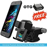 Die Hard™, [Combo] Premium Car Mobile Holder + OTG Free - One Touch Car Mount / Best Quality Long Neck 360° Rotation With Ultimate Reusable Suction Cup For Car Dashboard/Car Windshield/Desktop For Android,iOS,iPhone,Apple,Xiaomi Mi,iPhone,Vivo,O