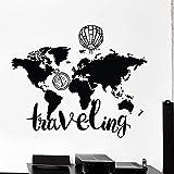 woyaofal Mapa del Mundo Globo de Aire Brújula Cita de Viaje Vinilo Tatuajes de Pared Decoración para el hogar Habitación para niños Arte Mural Pegatinas de Pared extraíbles 86x105 cm