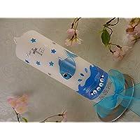 Taufkerze Fisch blau mit Sternen Taufkerzen Junge 250/70 mm inkl. Beschriftung