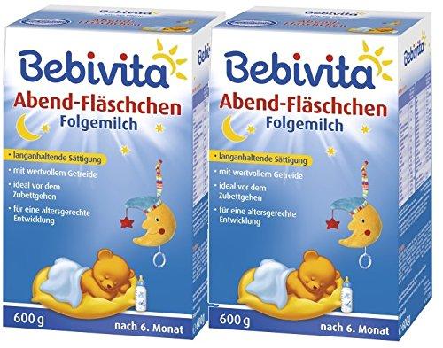 Bebivita Abend-Fläschchen - nach dem 6. Monat, 2er pack (2 x 600g)